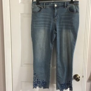 Inc denim skinny leg, regular fit crop